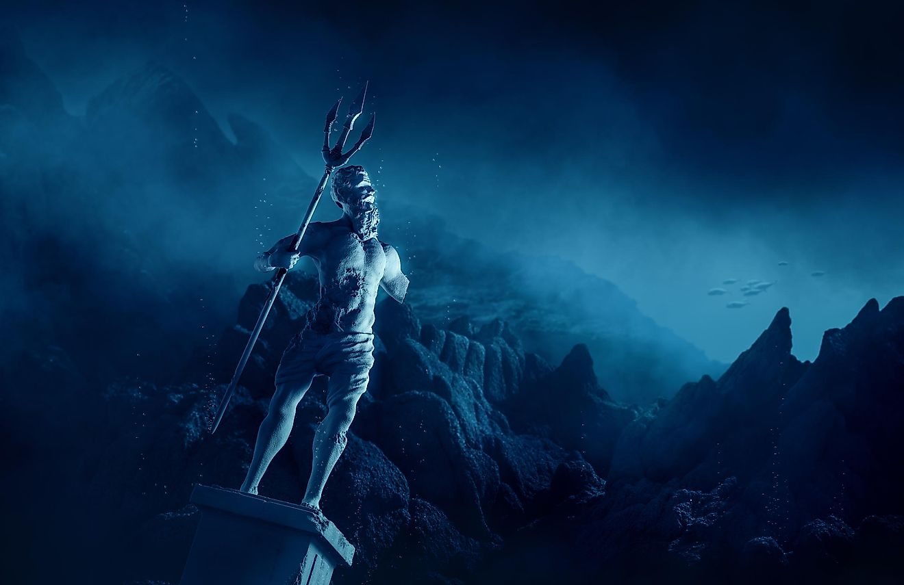 3D illustration of Poseidon's statue, based on the legend of the lost city of Atlantis. Image credit: Fer Gregory/Shutterstock