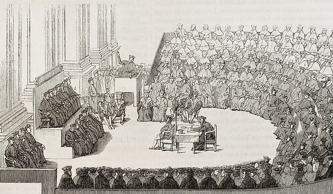 Illustration of the Council of Trent in 1565.