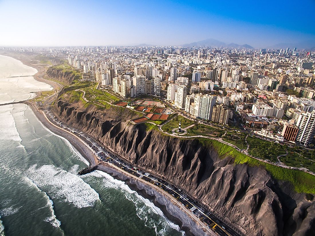 Lima sits along the coast of the Pacific Ocean.