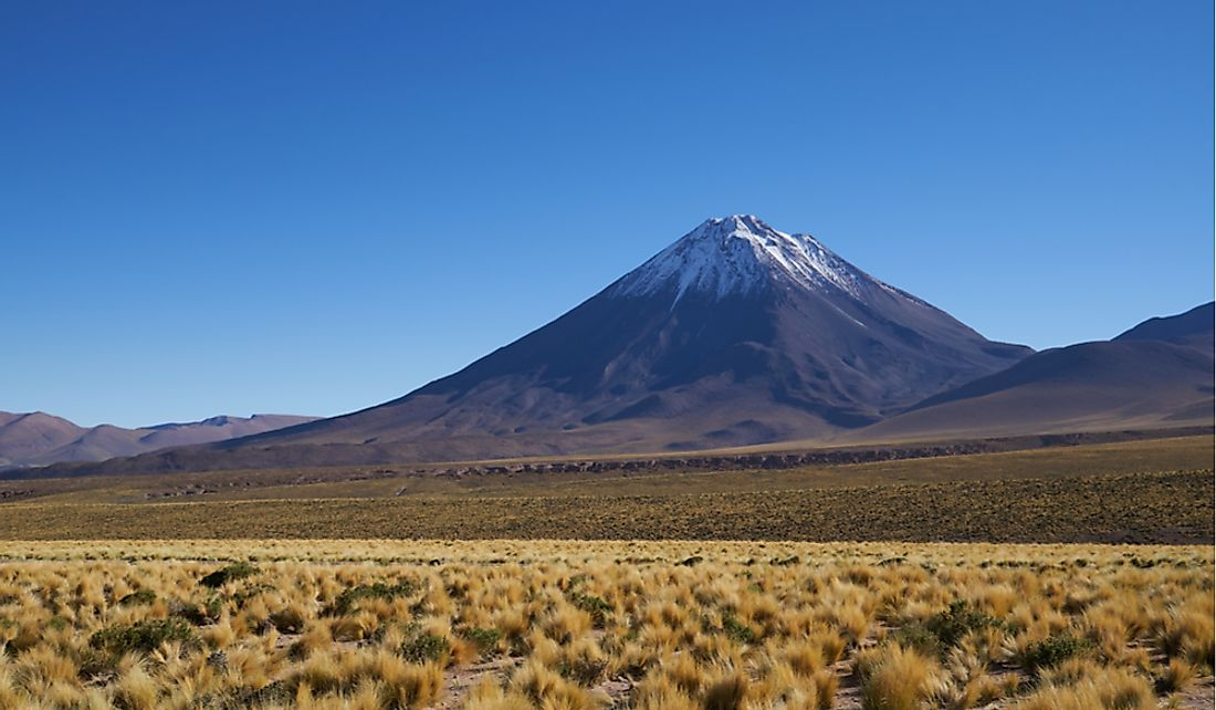 Chile is home to several snow-capped volcanoes.
