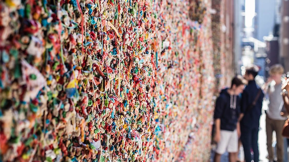 The Market Theatre Gum Wall is a popular tourist attraction in downtown Seattle.