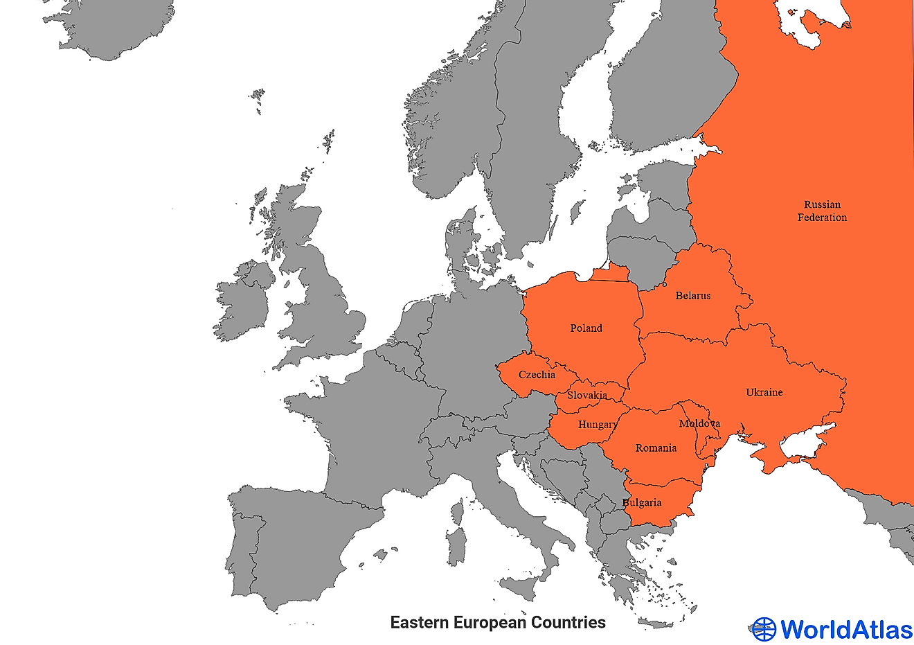 Map of Europe showing the Eastern European Countries.