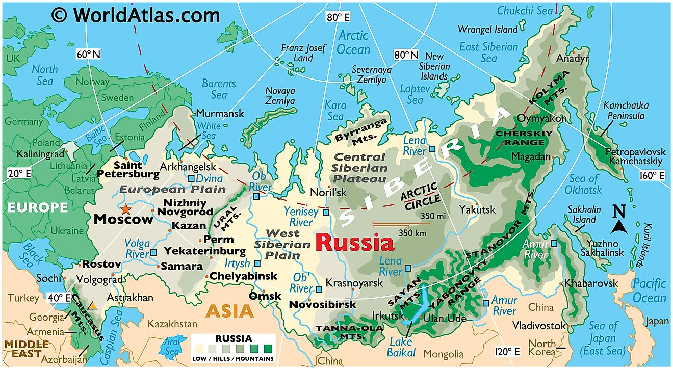 Physical map of Russia showing its state boundaries, relief, major rivers, extreme points, national parks, major cities, Lake Baikal, and more.