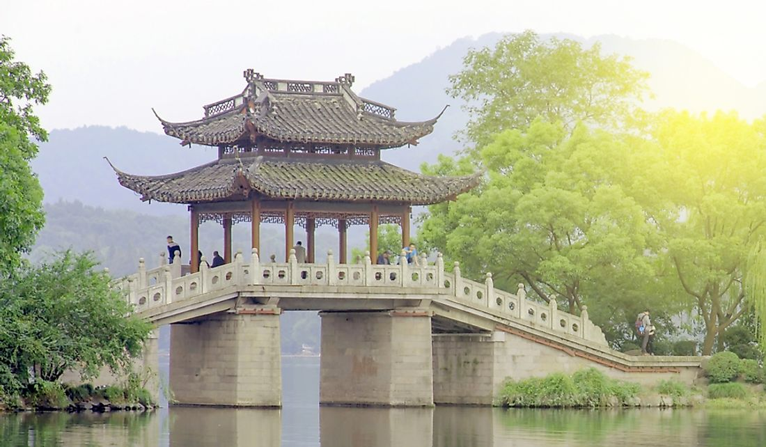 Bridge over West Lake in Hangzhou, China originally built during the Song Dynasty.