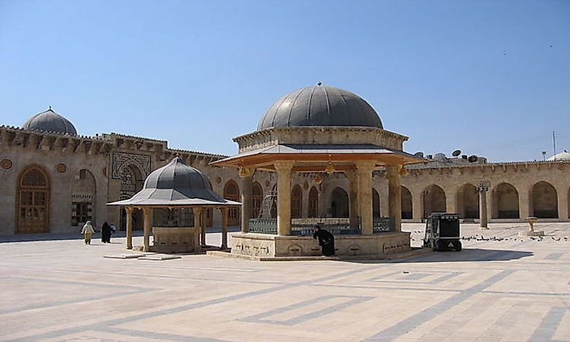 The Omayad Mosque courtyard in Aleppo, Syria