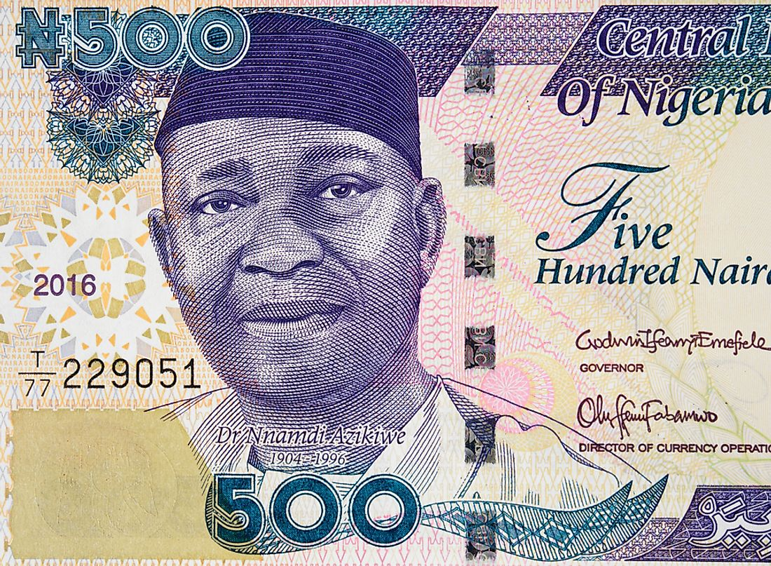 A portrait of Nnamdi Azikiwe, the first president of independent Nigeria.