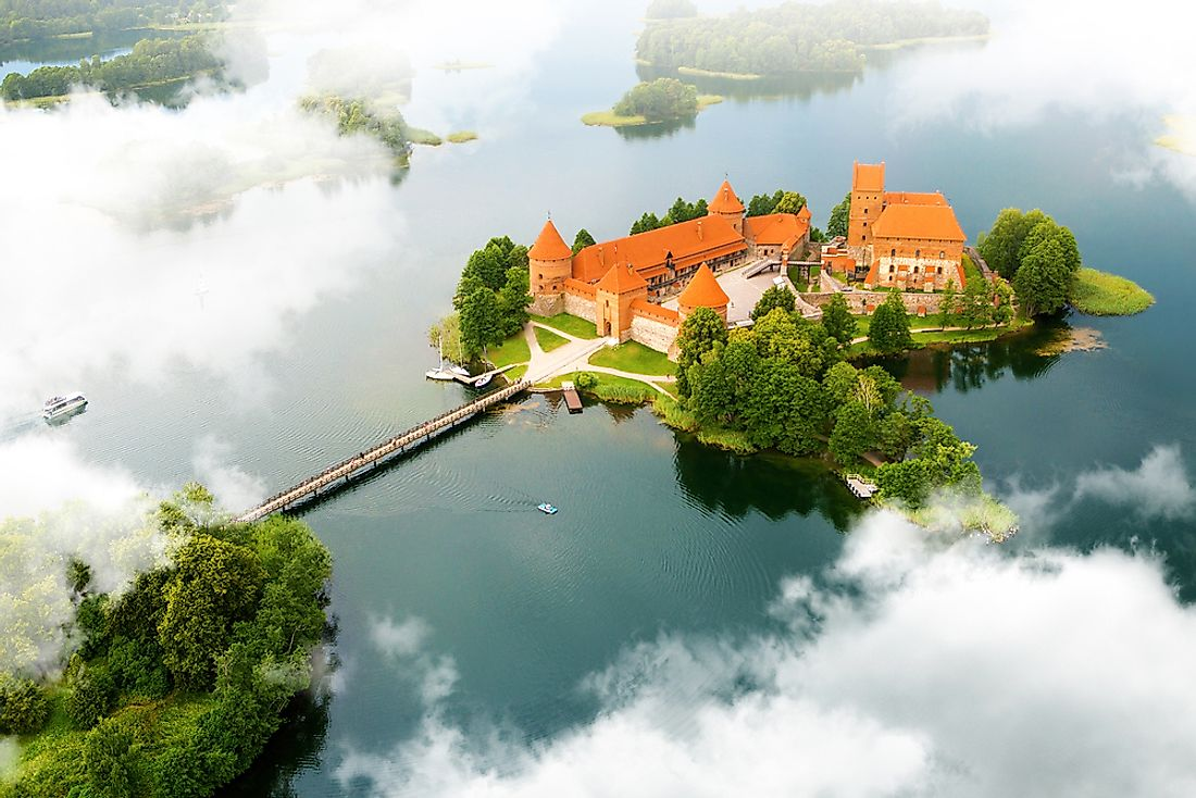 An aerial view of the old castle found in Trakai, Lithuania.