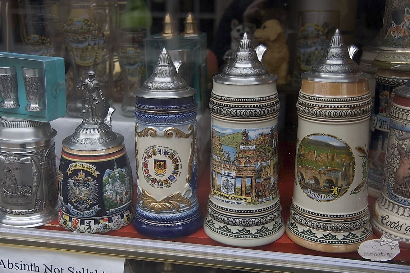 Decorated German Beer Steins. Image credit: Maksym Kozlenko/Wikimedia.org
