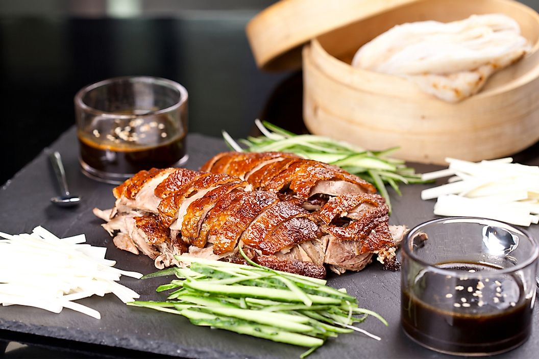 Peking duck is characterized by its thin and crispy skin.