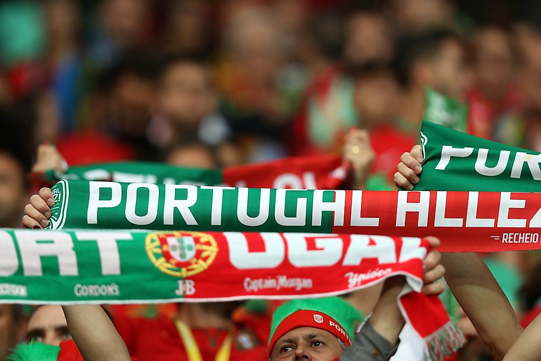Portuguese fans at a football match. Image credit: Marco Iacobucci EPP/Shutterstock.com.