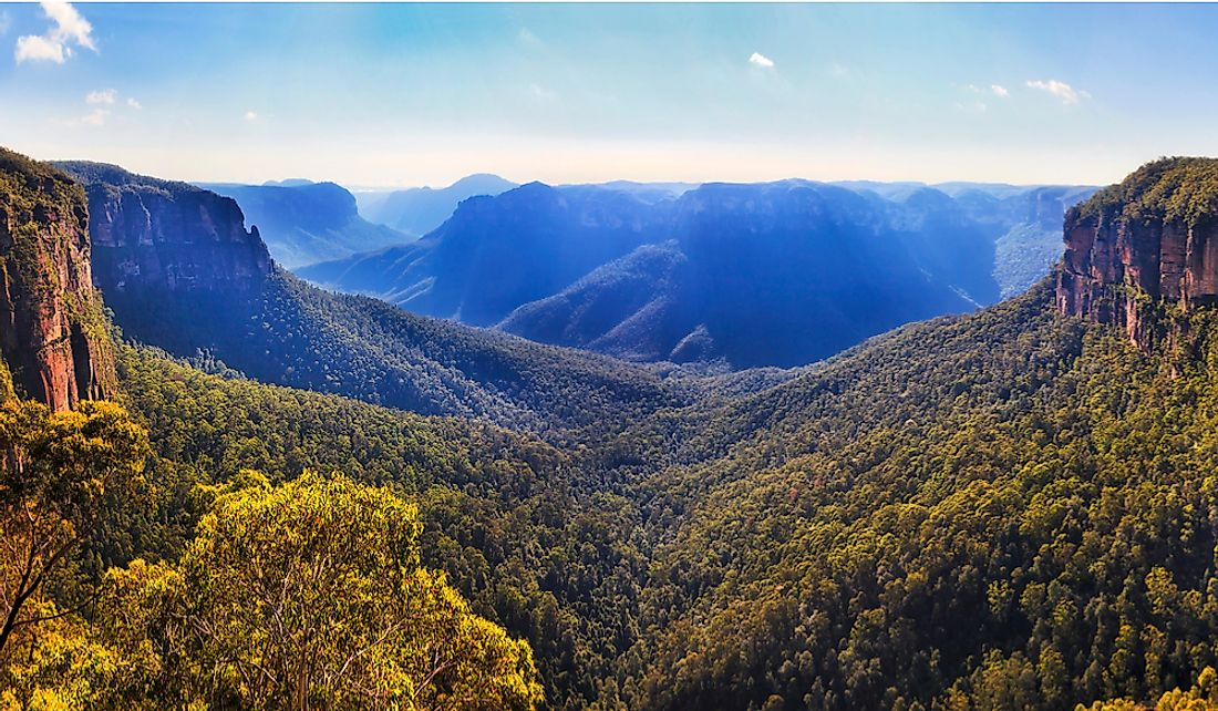 The Blue Mountains of the Great Diving Range in New South Wales, Australia.