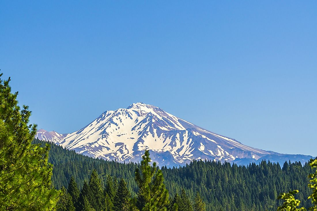 Snow on Mount Shasta in California.