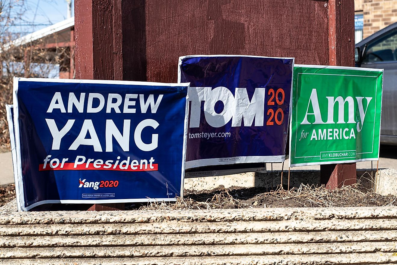 Democratic signs in Iowa City. Editorial credit: Kevin McGovern
