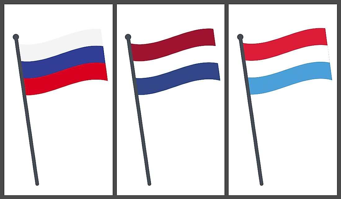 Flags of Russia, The Netherlands, and Luxembourg.