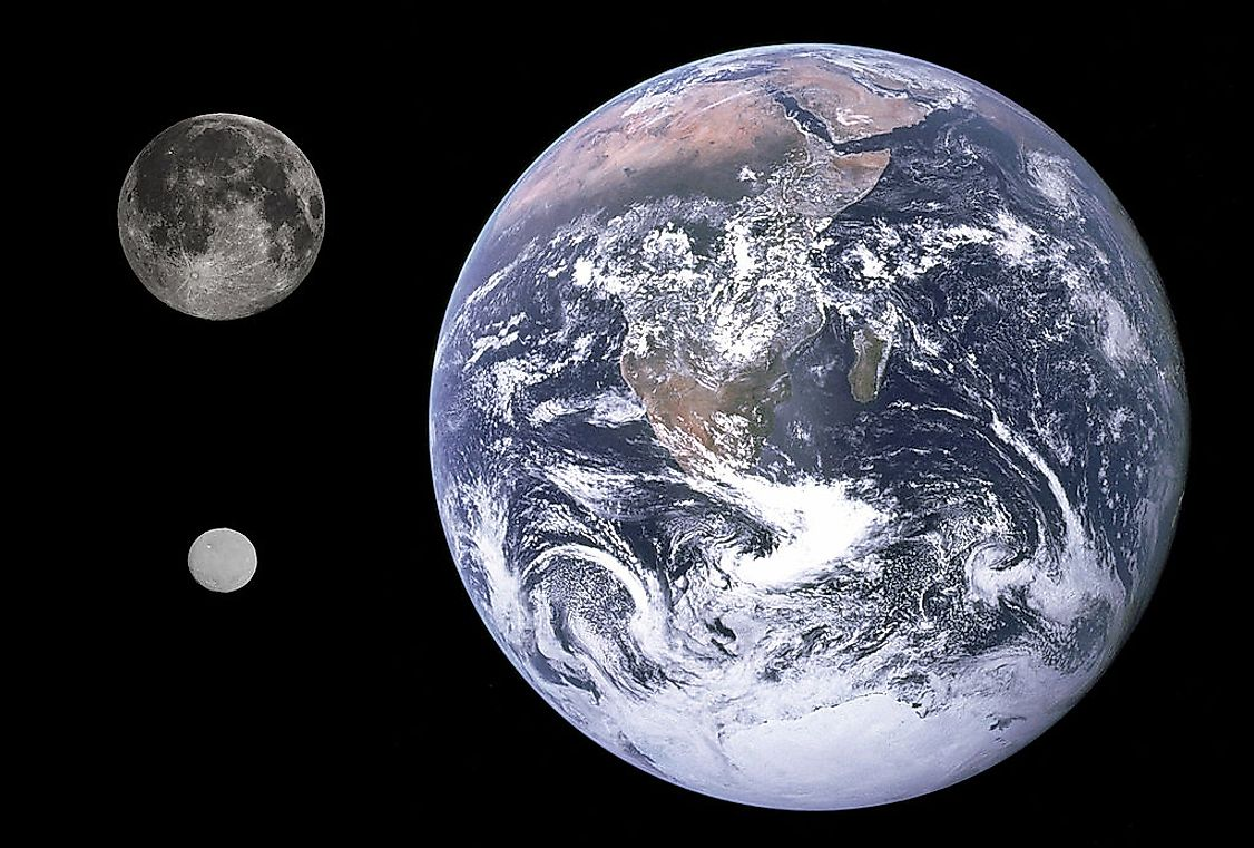 Ceres (bottom left), the Moon and Earth, shown to scale.