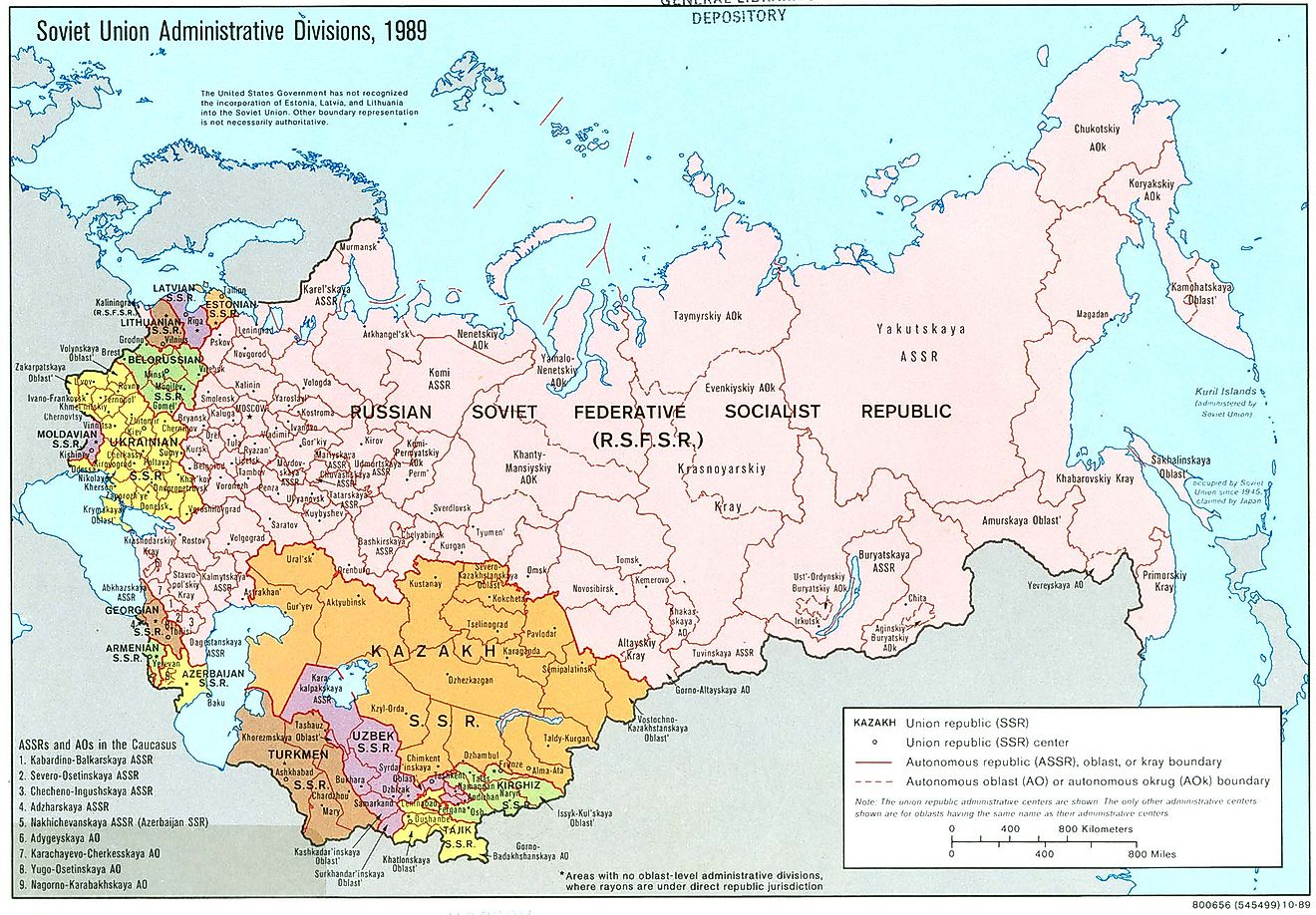 Administrative Divisions of the Soviet Union in 1989.