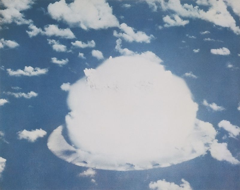One of the first nuclear bomb tests at Bikini Atoll in July of 1946.