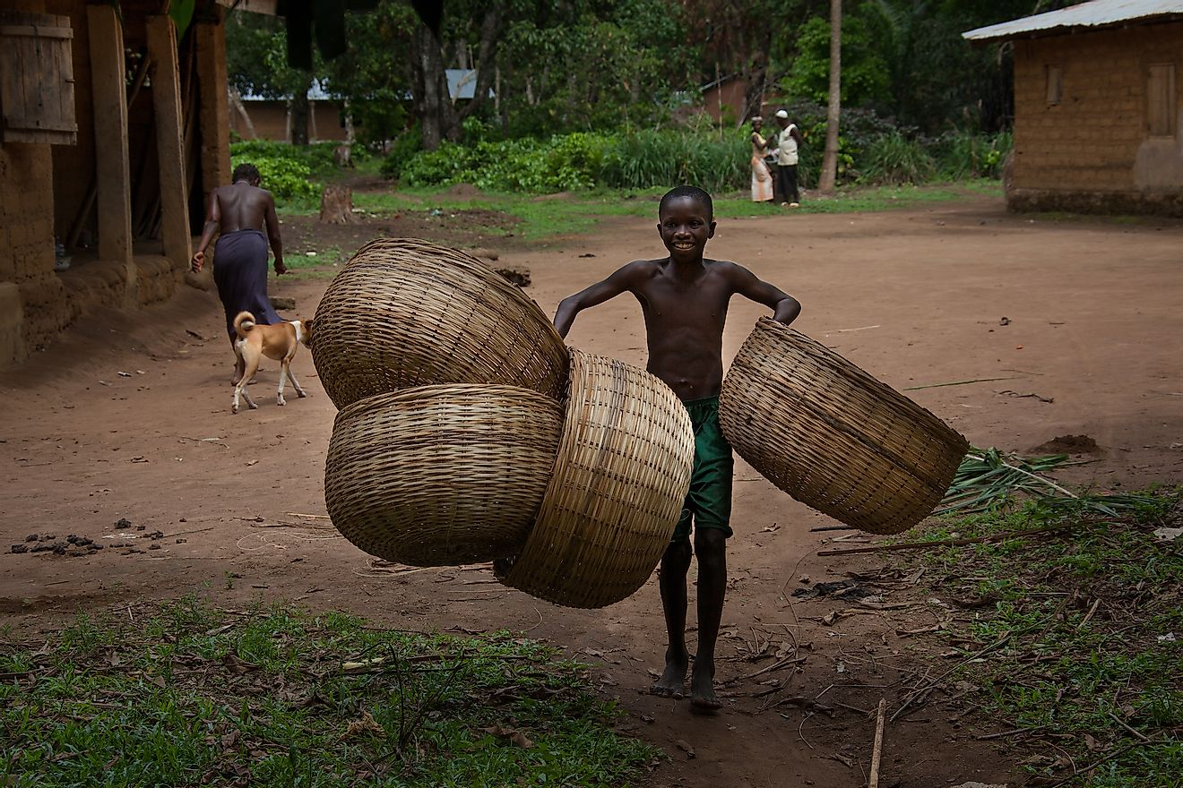 Basket-weaving is an important craft in Sierra Leone. Image credit: Robertonencini/Shutterstock.com