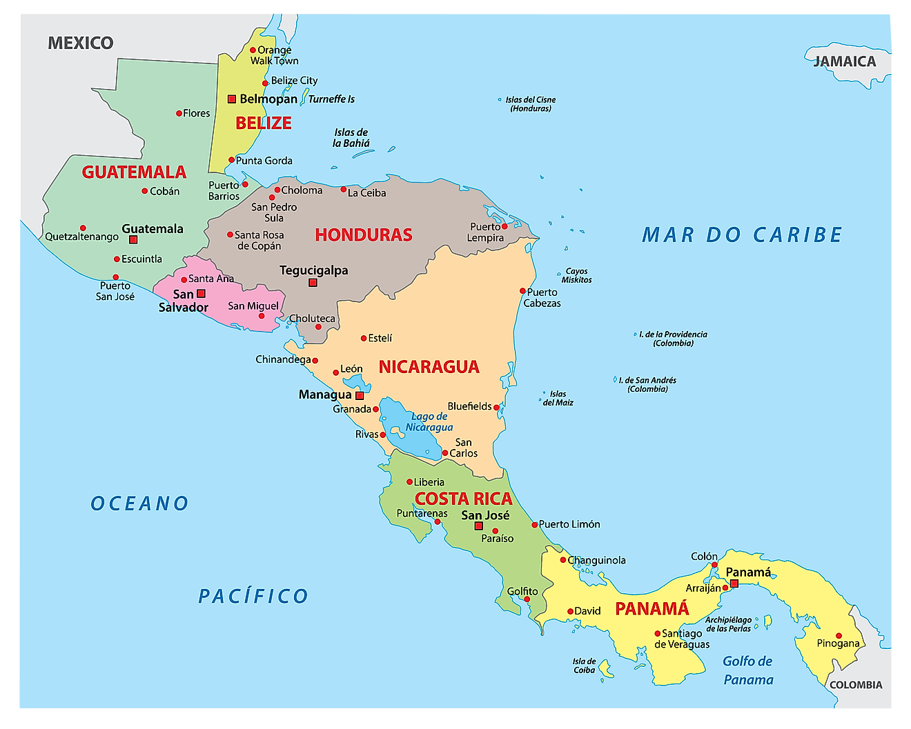 Map showing the 7 countries of Central America.