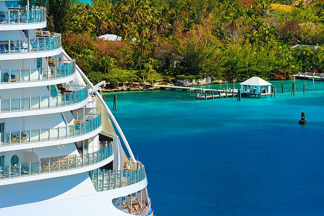 The balconies of a Caribbean cruise ship.