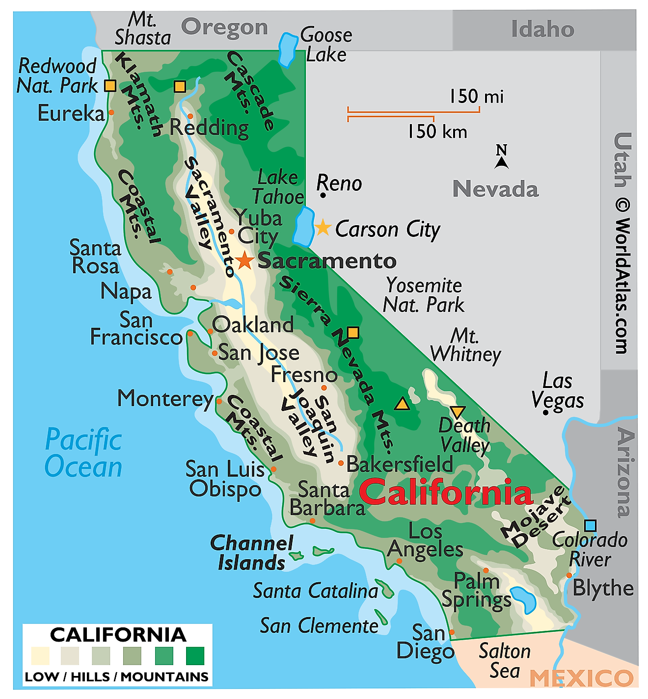 Physical Map of California. It shows the physical features of California including its mountain ranges, rivers and major lakes.
