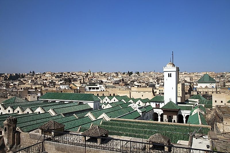 Rooftop view of al-Qarawiyyin (or Al Quaraouiyine), established as an Islamic madrasa in Fes, Morocco in 869.