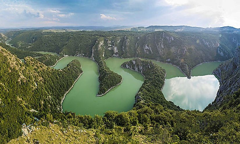 The picturesque landscape of the Uvac River in Serbia.