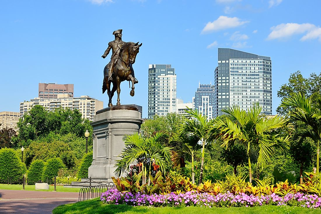 A statue of George Washington in Boston Public Garden.