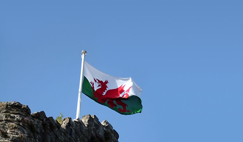 The Welsh flag waving.