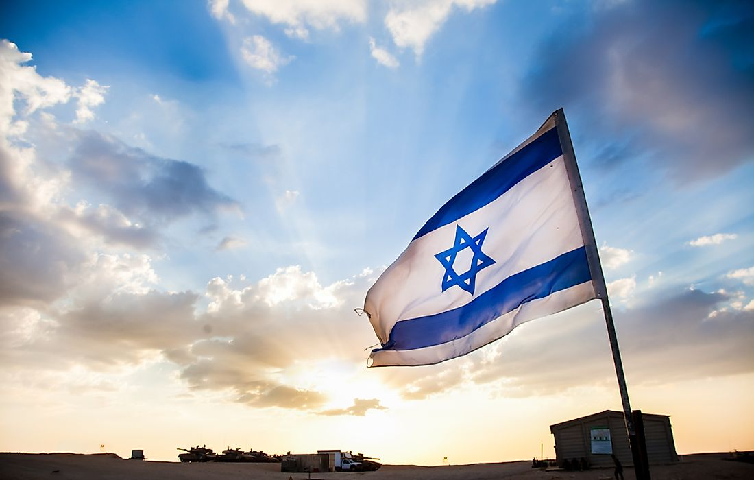 The flag of the state of Israel.