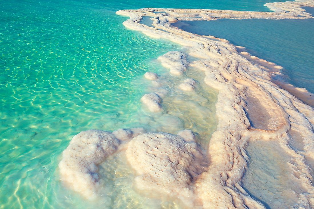 Salt crystals on the Dead Sea coastline.