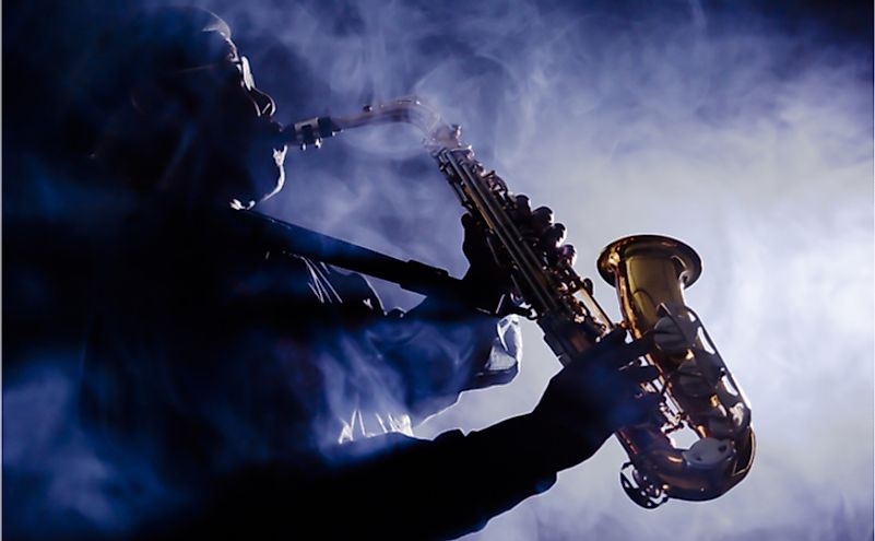 Jazz musician playing the saxophone.