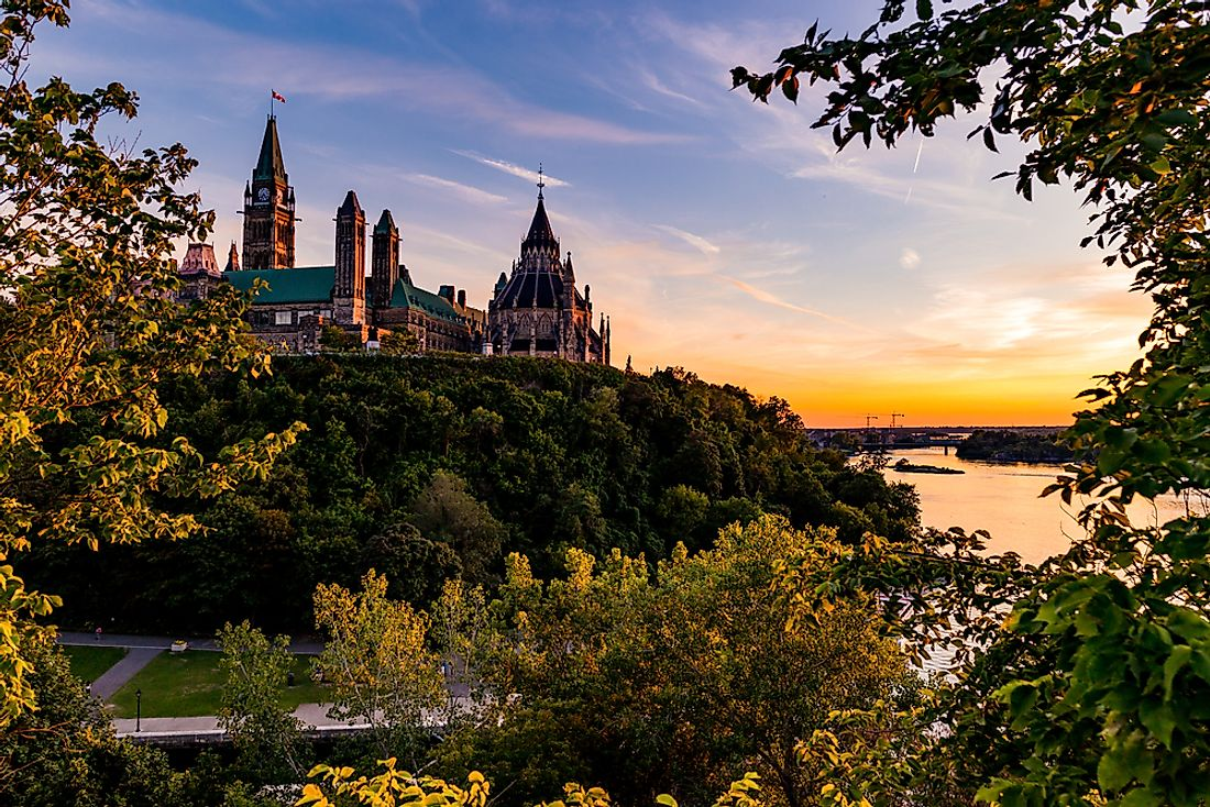 A view of the Parliament of Canada and the Ottawa River.