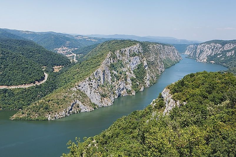 Iron Gates Gorge in Serbia's Derdap National Park separating the the Balkans from Carpathians near the Romanian border.