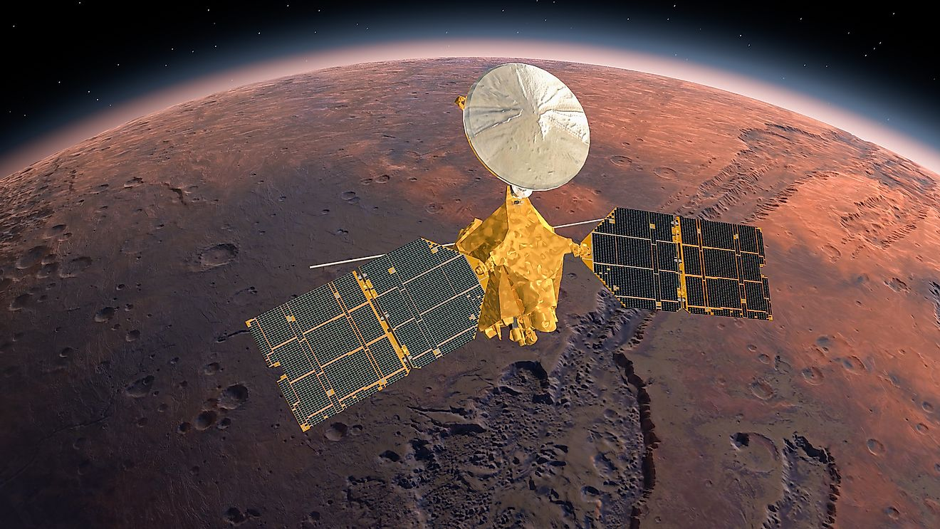 Mars Reconnaissance Orbiter, MRO orbiting Mars. Elements of this video furnished by NASA. 3d rendring. Image credit: Merlin74/Shutterstock.com
