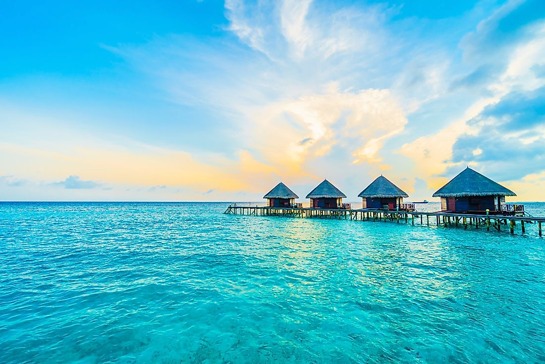 The unique nation of the Maldives is known for their luxury resorts in a beautiful tropical setting.