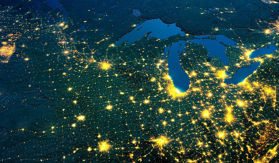 The Great Lakes Megaregion is centered around the Great Lakes.