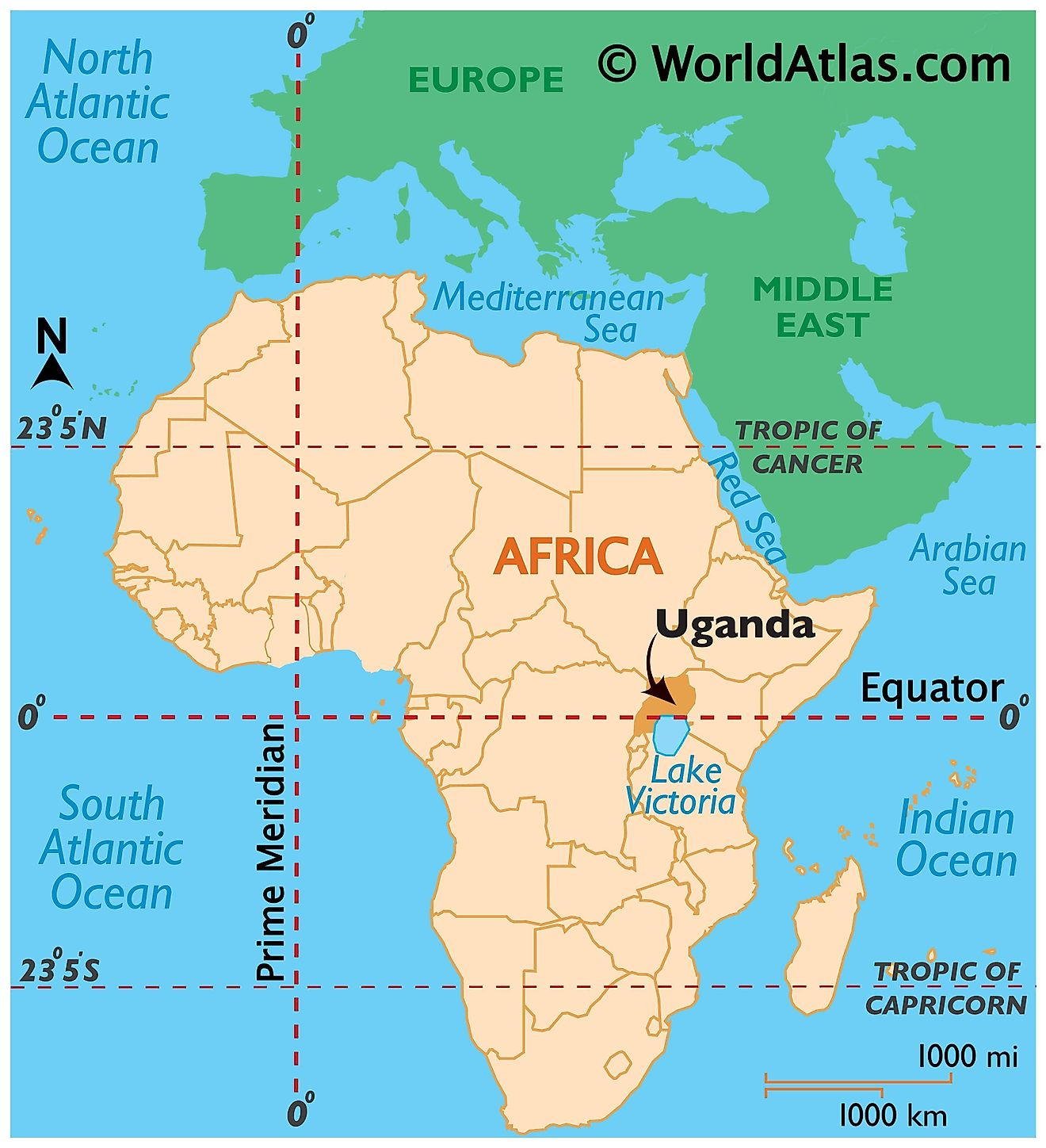 Map showing location of Uganda in the world.