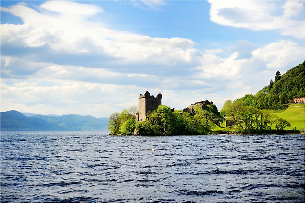 Urquhart Castle and Loch Ness in Scotland.