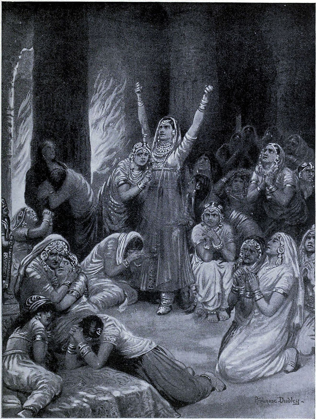 The Rajput ceremony of Jauhar, 1567, as depicted by Ambrose Dudley in Hutchinsons History of the Nations, c.1910. Image credit: Ambrose Dudley  (1867–1951)  United States public domain