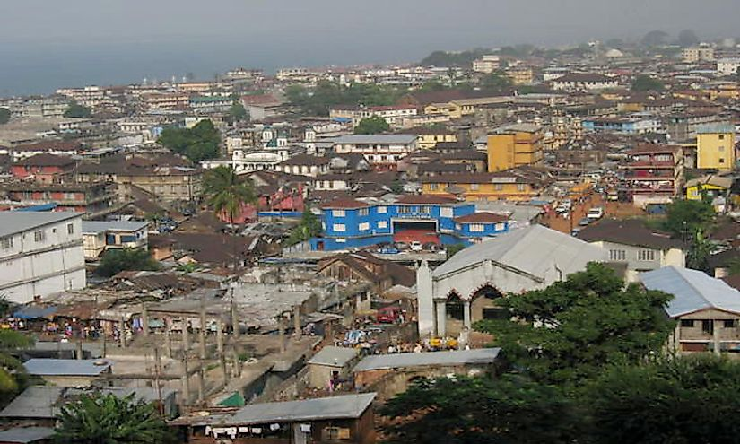 A view of Freetown, the biggest and capital city of Sierra Leone.