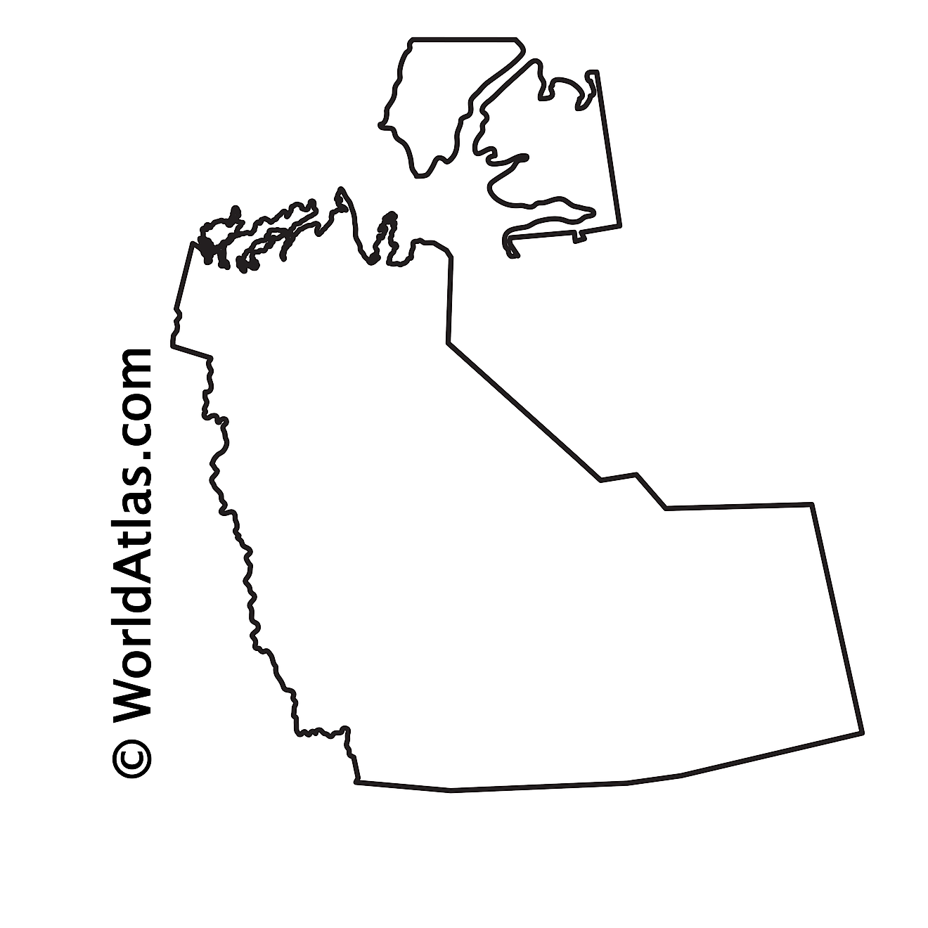 Blank Outline Map of Northwest Territories