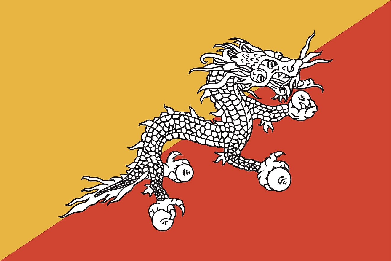 The official flag of Bhutan.