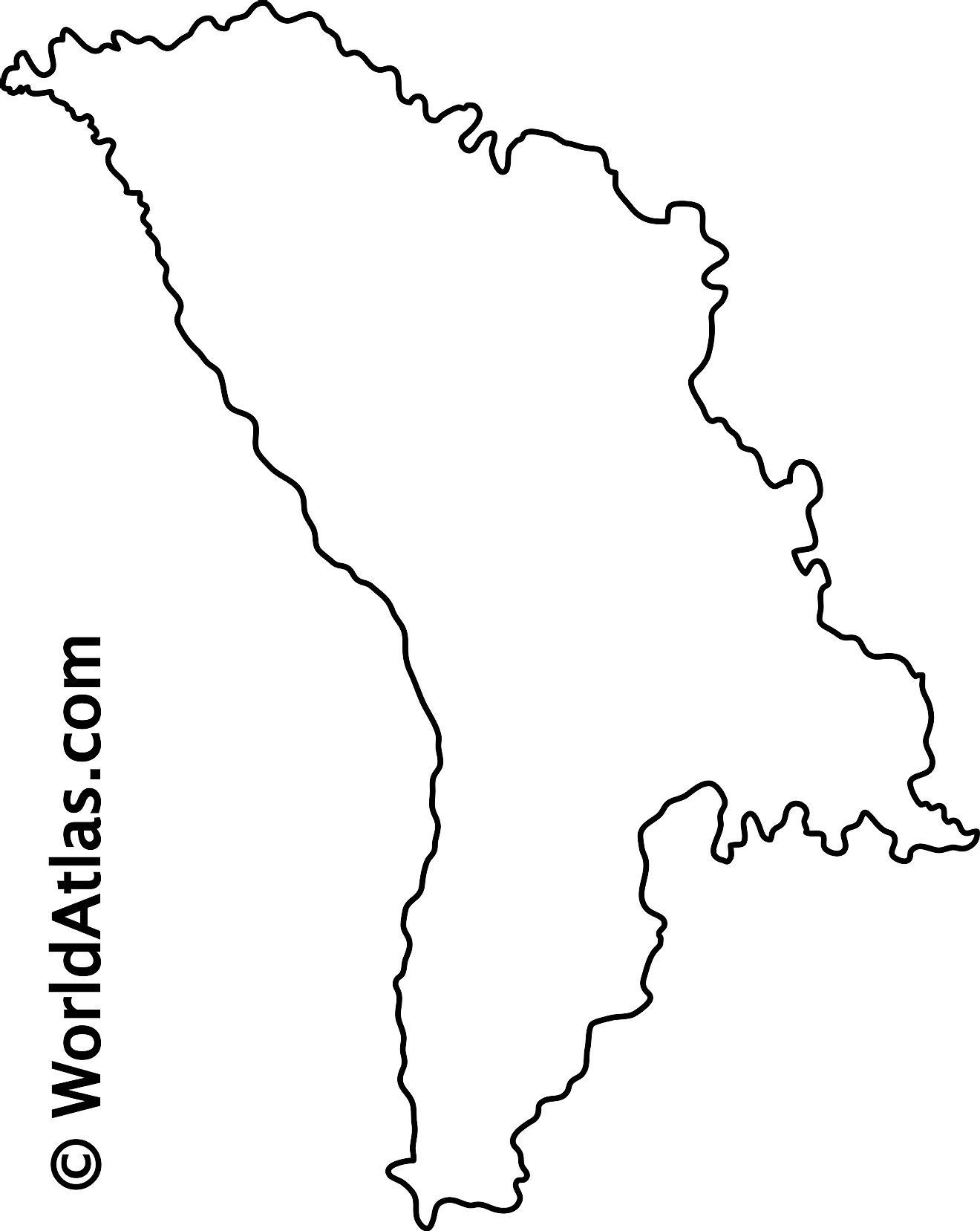 Blank Outline Map of Moldova