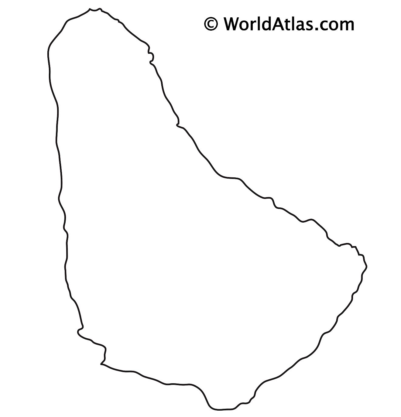 Blank outline map of Barbados