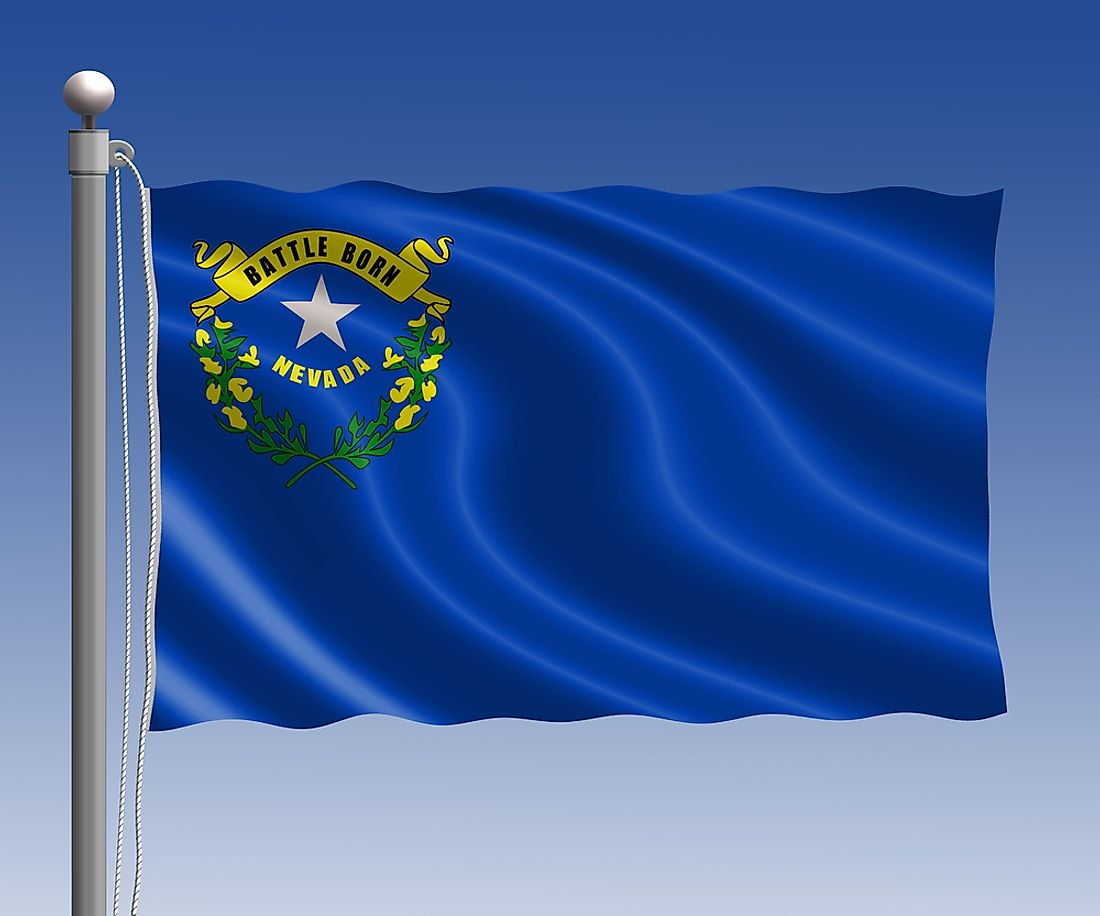 The Nevada flag features the state seal in the upper left corner on a blue field.