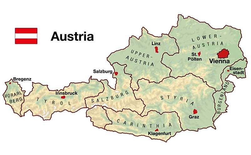 Topographic map of Austria in Europe with cities, federal states, borders and flag.