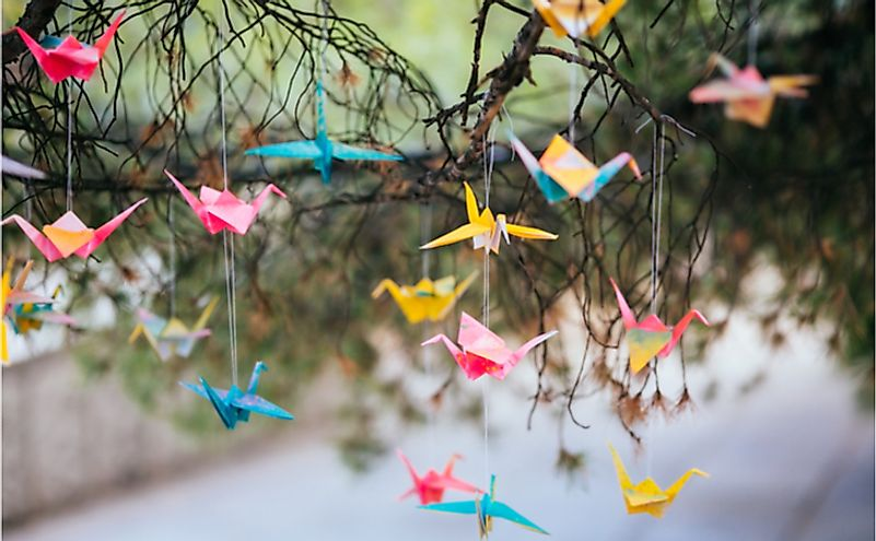 Origami cranes on the tree
