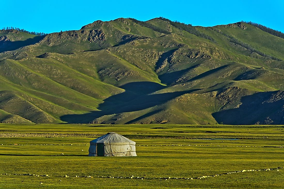 Mongolia has the lowest population density of any country in the world.
