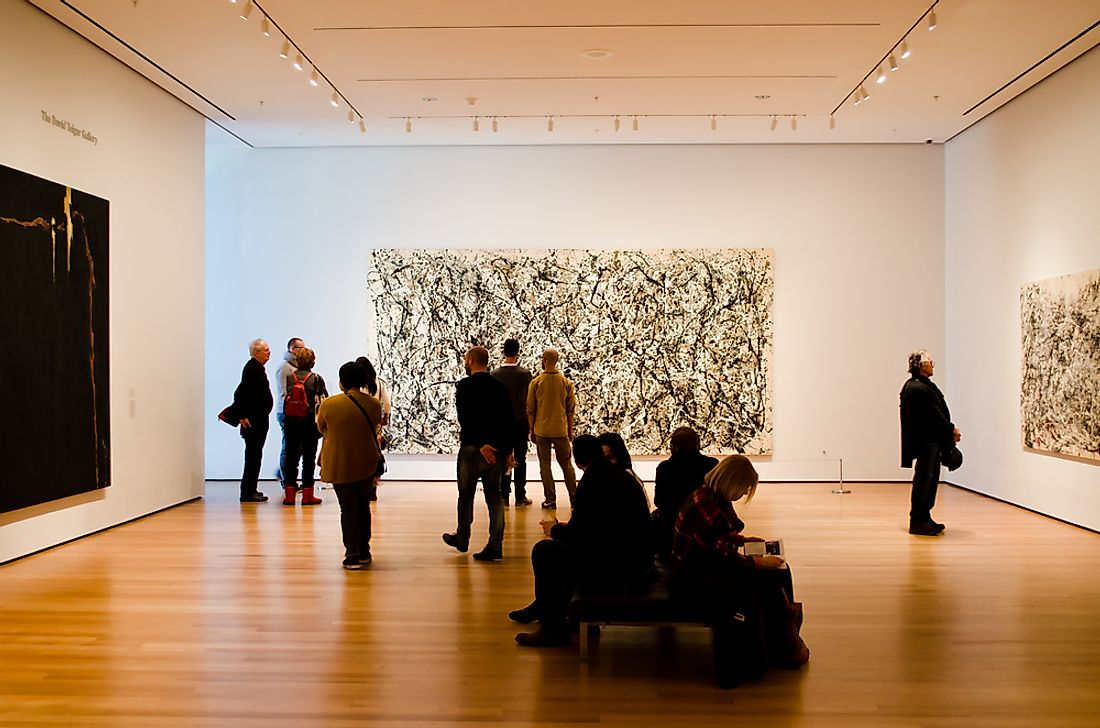 Showing of Jackson Pollack artwork at New York's Museum of Modern Art.  Editorial credit: dmitro2009 / Shutterstock.com